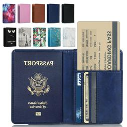 RFID Blocking Leather Passport Holder ID Case Credit Card Wa