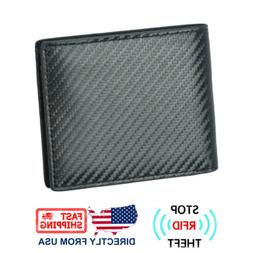 RFID Blocking Men's Bifold Purse Carbon Fiber Leather Cards