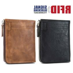 RFID Blocking Men's Leather Zipper Closure Pocket ID Card Ho