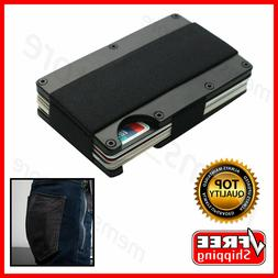RFID BLOCKING Minimalist Slim Ridged Edge Wallet Money Clip