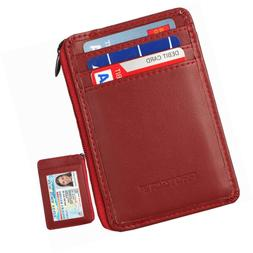 RFID Blocking Sleeves Front Pocket Leather Wallet for Women