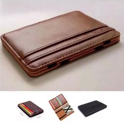 RFID Chic Leather Magic Money Clip Slim Mens Wallet ID Credi