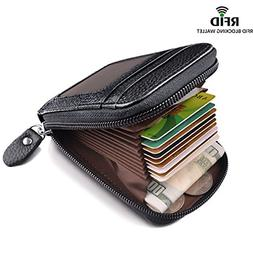 RFID Credit Card Wallet For Women Men Small Leather Genuine