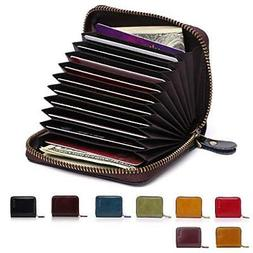 APHISON RFID Genuine Leather Credit Card Holder Wallet for W