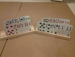 SET OF 2 HAND MADE WOODEN PLAYING CARD HOLDERS MADE FROM SEL