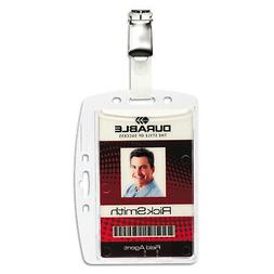 DURABLE Shell-Style ID Badge Holders with Strap Clip, 2-3/4