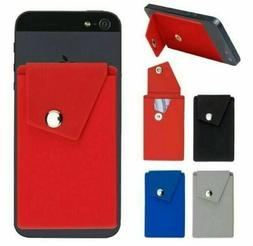 Silicone Credit Card Holder for Cell Phone with Security Sna