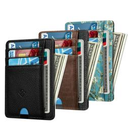 RFID Blocking Mens Leather Slim Wallet Money Credit Card ID
