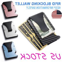 Slim Carbon Fiber ID Credit Card Holder RFID Blocking Metal