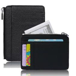 Slim Thin Zipper Leather Wallet Money Clip Credit Card ID Ho