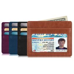 slim wallet money clip leather card holder