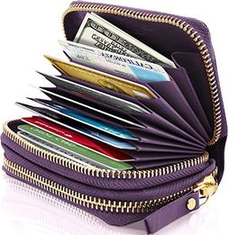 Small Leather Zipper Wallets For Women - Credit Card Holder