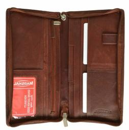 Marshal Solid Leather Passport Cover Credit Card Holder Trav