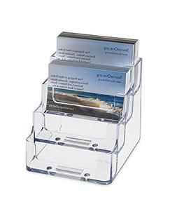 Source One 4 Pocket Clear Acrylic Business Card Holder