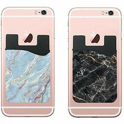 Marble Cell Phone Sleeves Stick Wallet Card Holder Pocket F
