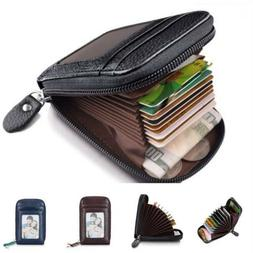 US Men's Leather Wallet Credit Card Holder RFID Blocking Zip