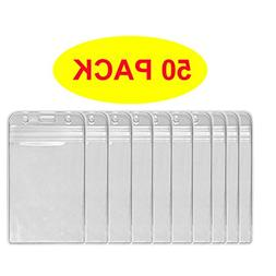 HOSL 50 Pcs Clear Plastic Vertical Name Tag Badge ID Card Ho
