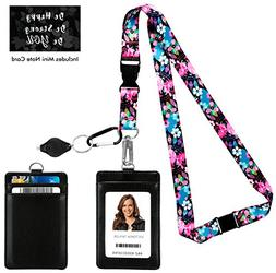 Wild Flowers Blossom Print Lanyard with PU Leather ID Badge