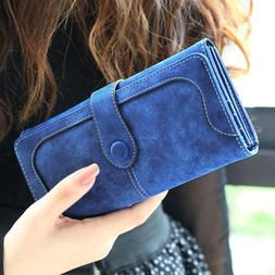 Woman Long Wallet Suede Leather Wallets Coin Purse Card Hold