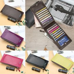 Women Bifold Leather Credit Card Holder Long Double Zipper P