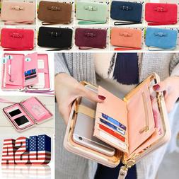 Women Bowknot Wallets Long Purse Phone Card Holder Clutch La