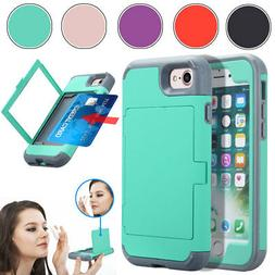 Women Girl Mirror Phone Case with Credit Card Holder For iPh