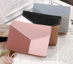 Women Leather Patchwork Wallets Cute Bunny Pendant Zipper Co