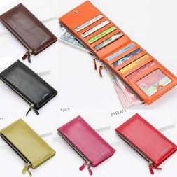 Women Leather Wallets Credit Card Holder Long Slim Bi-fold Z