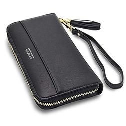 Women Leather Wallets Zip Around Large Clutch Card Holder Or