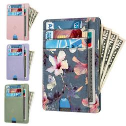 For Women RFID Blocking Leather Wallet Credit Card Holder Ca