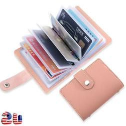 Women's 26 Cards Slim PU Leather ID Credit Card Holder Pocke