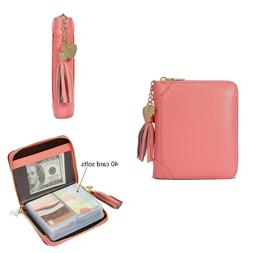 Women's Credit Card Case Wallet With 2 ID Window and Zipper
