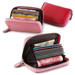 Women's Faux Leather Pocket Business ID Credit Card Wallet H