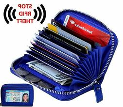 Women's Genuine Leather Credit Card Holder,  RFID Secure wit