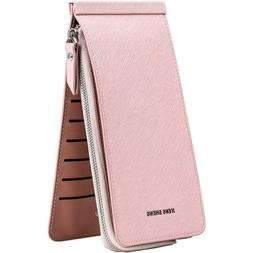 Women's Leather ID Credit Card Holder RFID Protector Money W