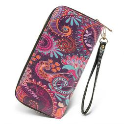 Women's Long Wallet Clutch RFID Blocking Credit Card Holder