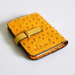 Women's Ostrich Leather Business/Credit Card Holder Case Wal