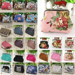 Womens Vintage Small Printed Coin Card Holder Wallet Clutch