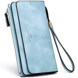 Women Walllet Wristlet PU Leather Clutch Purse Bifold Ladies