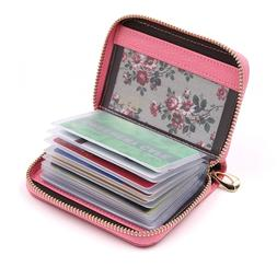 Womens Credit Card Holder Case 40 Slots Pink Wallet ID Zippe