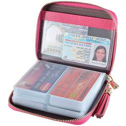 Womens Credit Card Holder Wallet Zip Leather Card Case RFID
