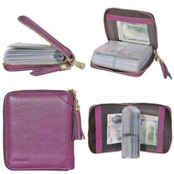 Easyoulife Womens Credit Card Holder Wallet Zip Leather Card