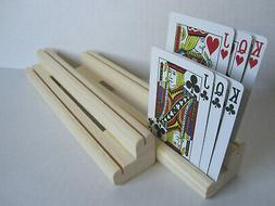 Wooden Playing Card Holder Rack  / Two Levels / Set of Four