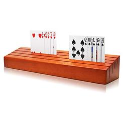 Exqline Wooden Playing Card Holder Tray Rack Organizer for K