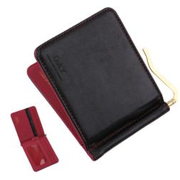 YCA1004 Leather PU Black Red Mens Gold Money Clip Wallet 5 C