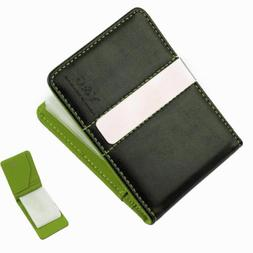 YCC1016 Green Black Leather PU Wallet 15 Card Holder and Mon