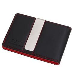 YCM13A01 Black Red Best Leather Wallet Money Clip Credit Car